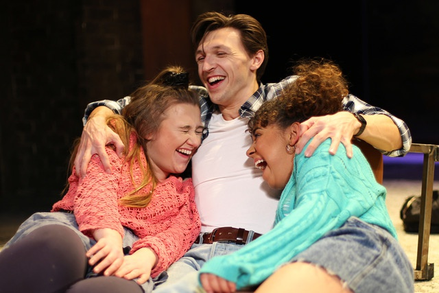 Jump to it. Sue (Gemma Dobson) and Rita (Alyce Liburd) enjoy some laughs with sex-starved Bob (John Askew) (Curtesy: Out of Joint)