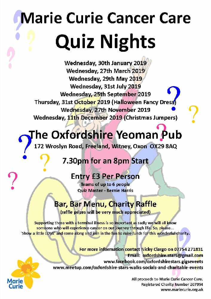 Quiz Night in aid of Marie Curie, Wednesday, 27th March 2019
