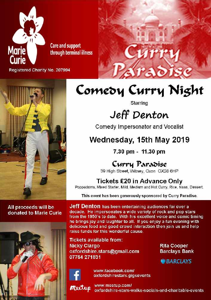 Comedy Curry Night In Aid Of Marie Curie Wednesday 15th