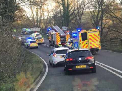 Three people in hospital following a multi-vehicle crash near Landrake