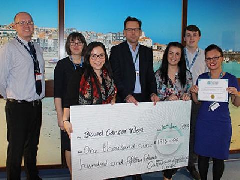 Outpatients Appointment Centre team raises cash for Bowel Cancer West
