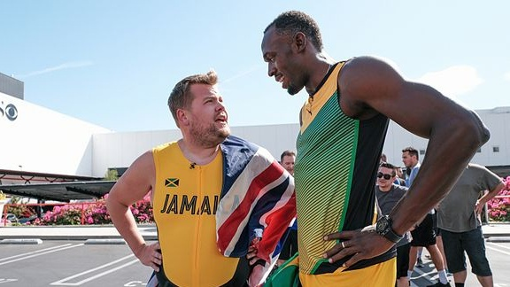 WATCH: James Corden Takes On Usain Bolt in a 100m Sprint