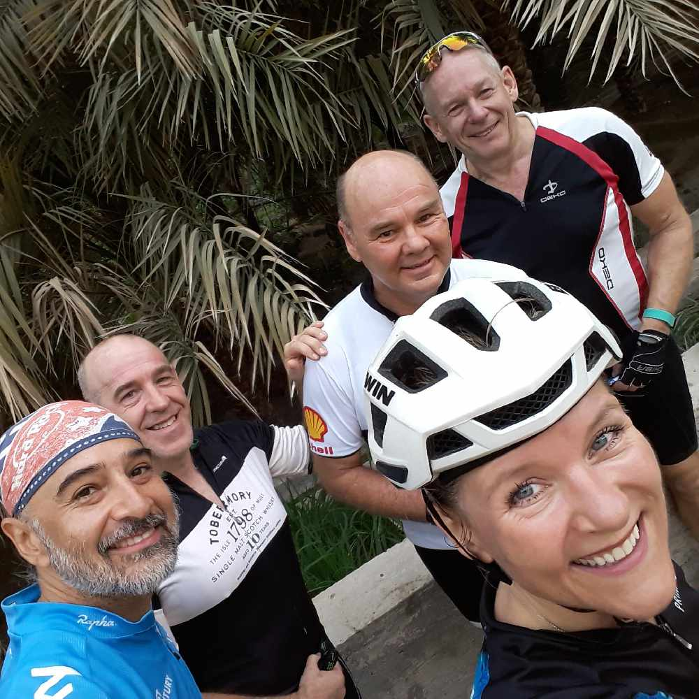 Friday club ride selfie with some of the boys taken in the beautiful village of Falaj Al Shams