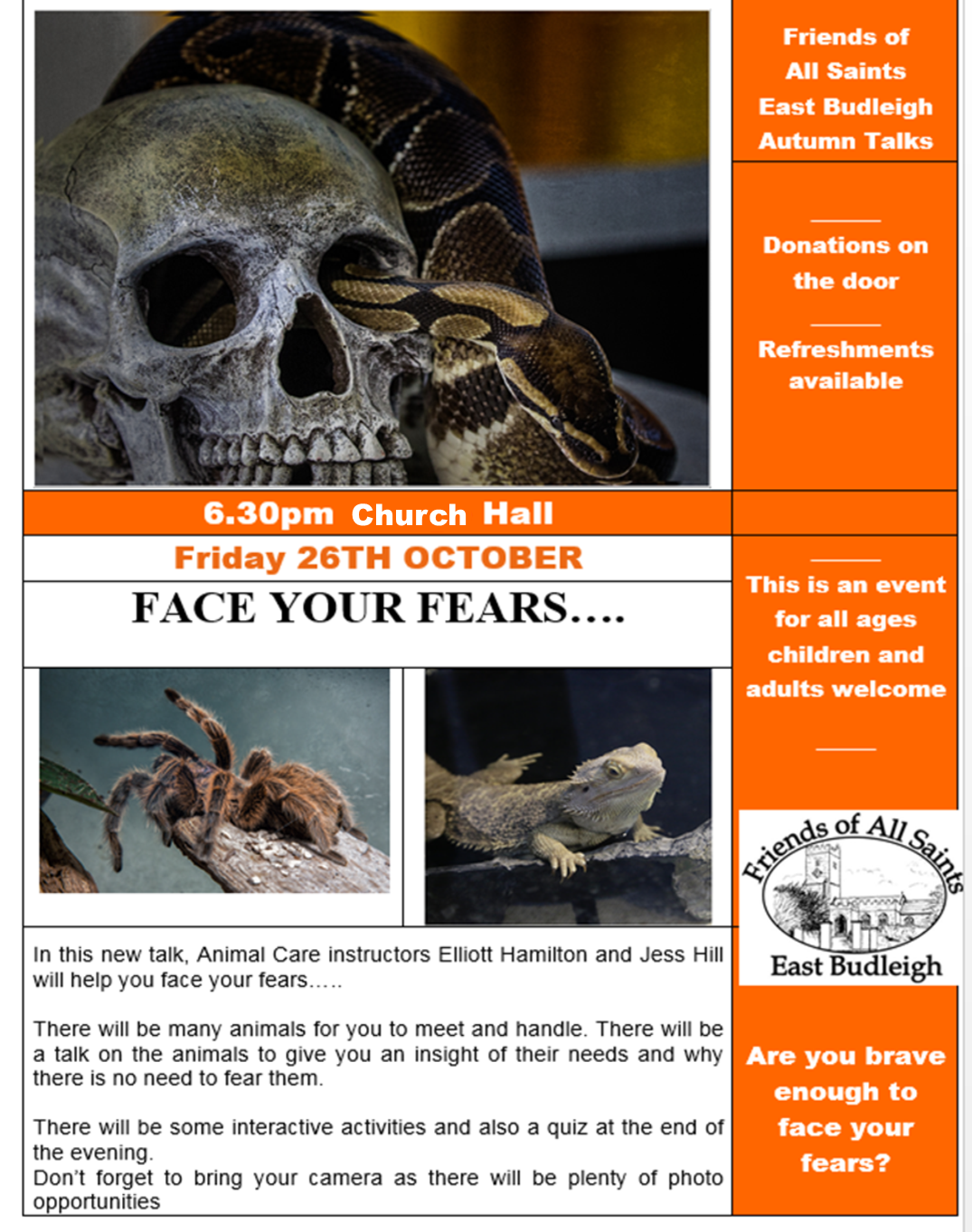 Face your Fears - Snakes, Spiders etc  6 30pm - ExmouthAiR