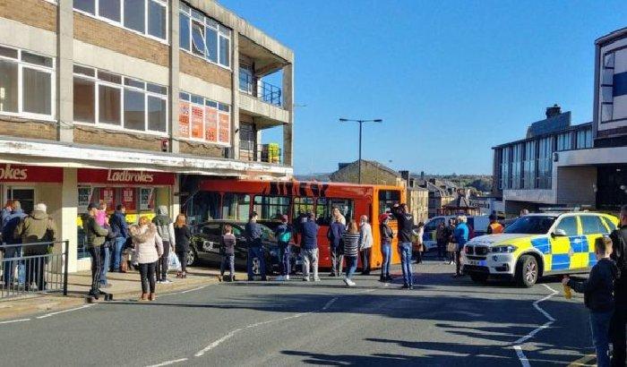 Bus crashes into Shipley opticians
