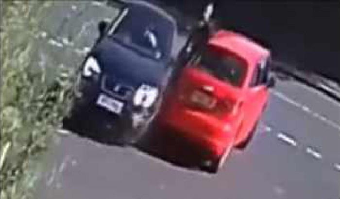 CCTV footage car colission road rage
