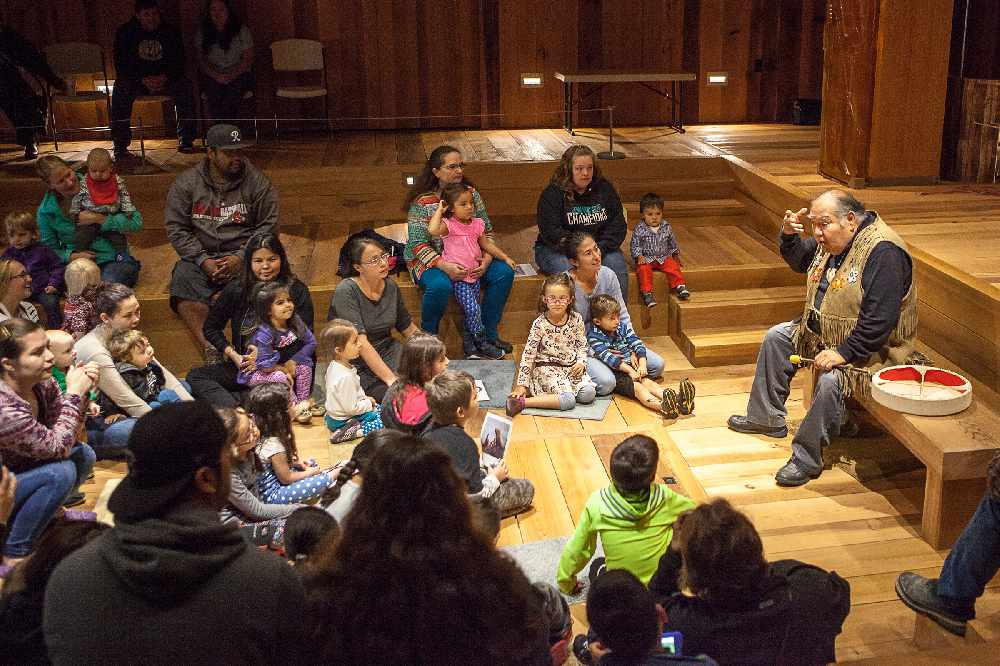 David Katzeek tells a story to Baby Raven families at the Walter Soboleff Building in September 2016. Photo by Nobu Koch.