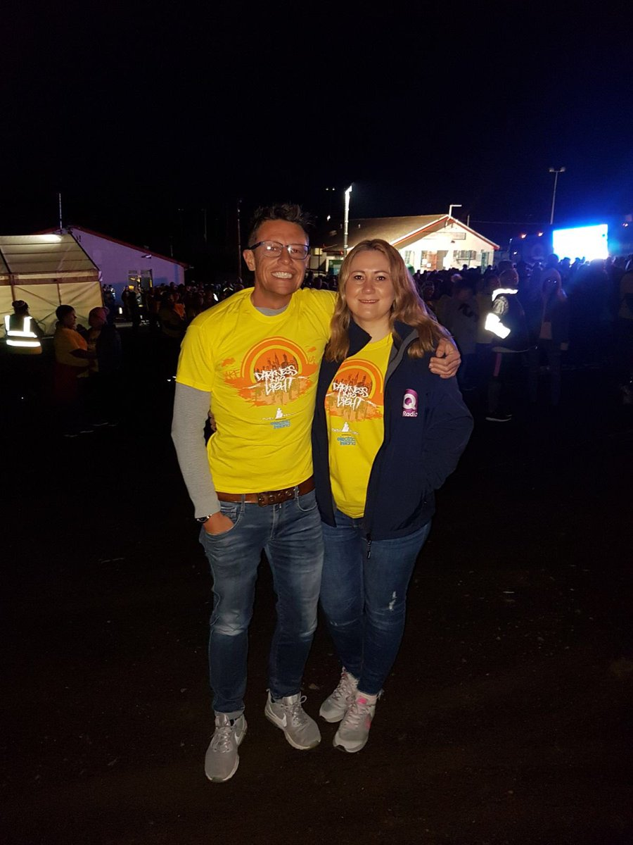 Pictured: Q Radio Breakfast presenters Stephen Clements and Cate Conway at the Darkness Into Light walk in Hannahstown