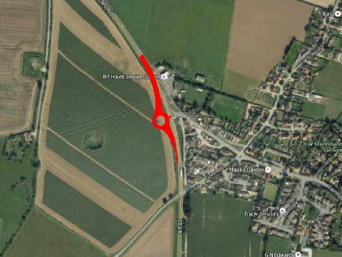Map showing where the new roundabout will be located (Norfolk County Council/Google)