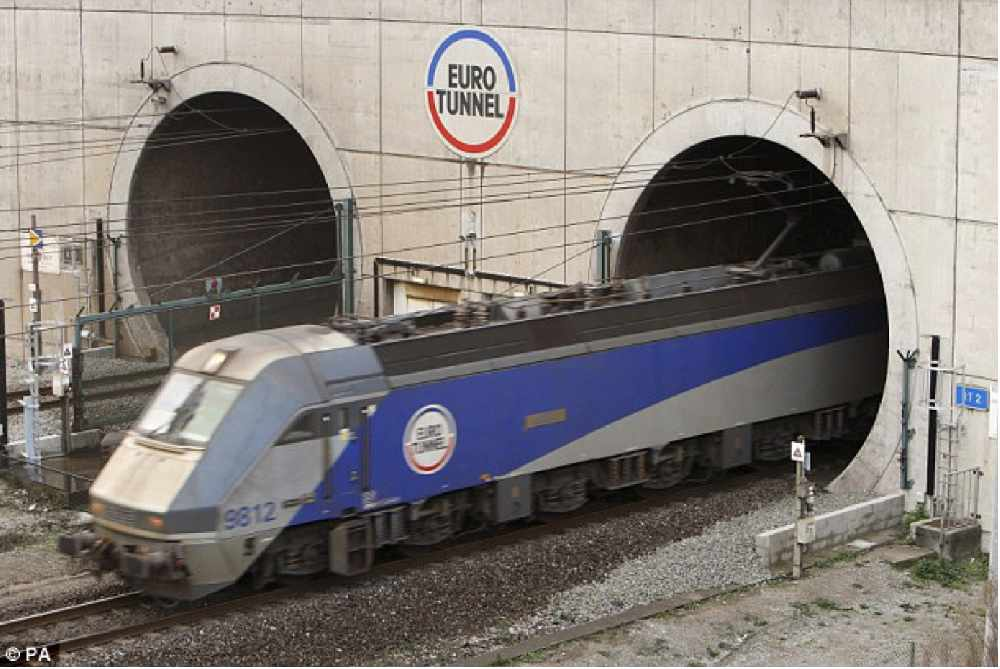 A train exiting The Channel Tunnel in England