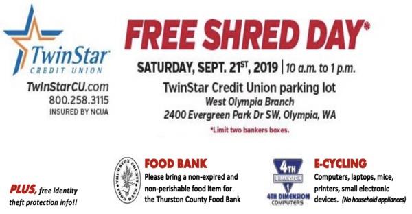 FREE Shred Day* @ TwinStar Credit Union in West Olympia Saturday