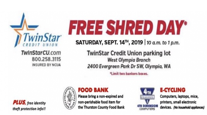 FREE Shred Day* @ TwinStar Credit Union in West Olympia