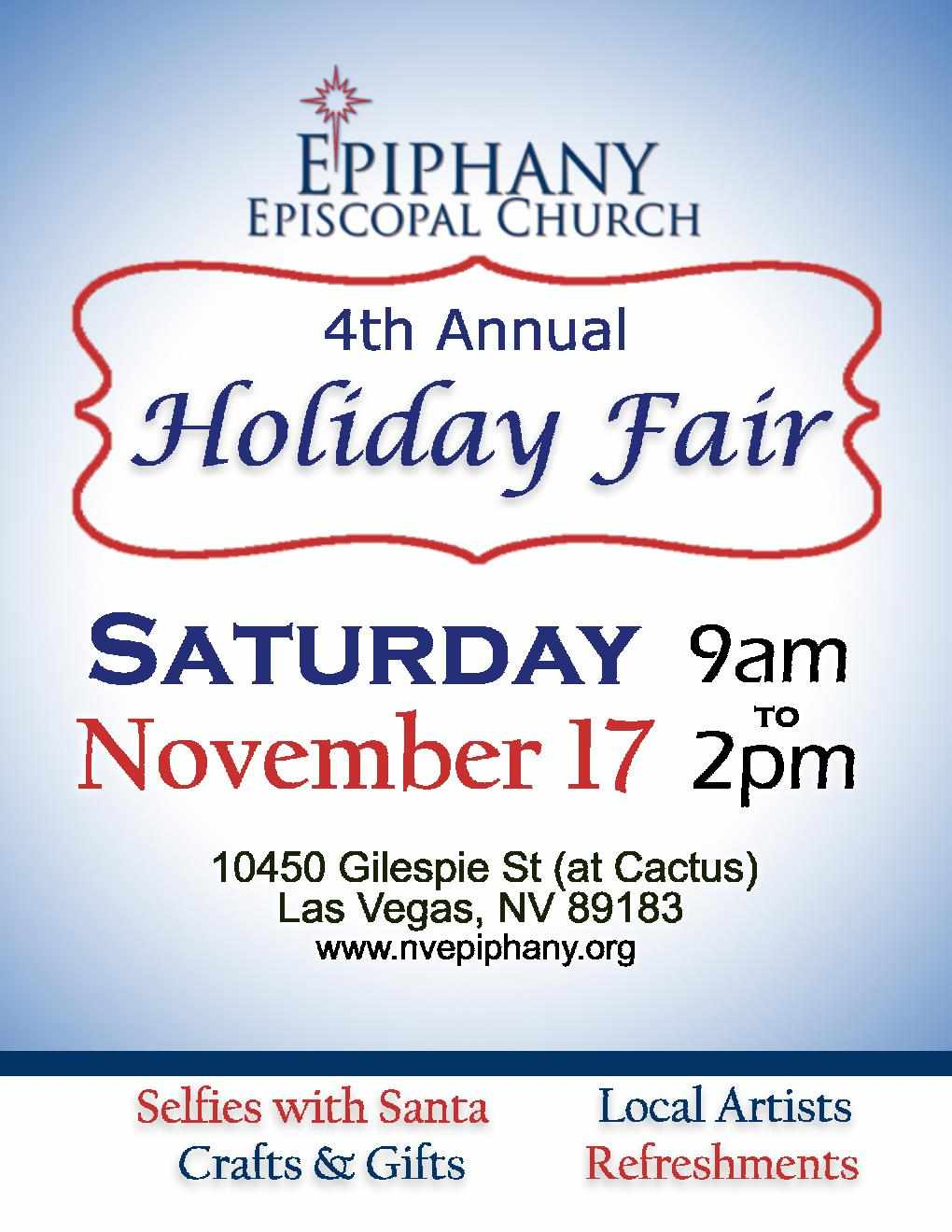 Epiphany Episcopal Church Holiday Fair Right Song Right Time