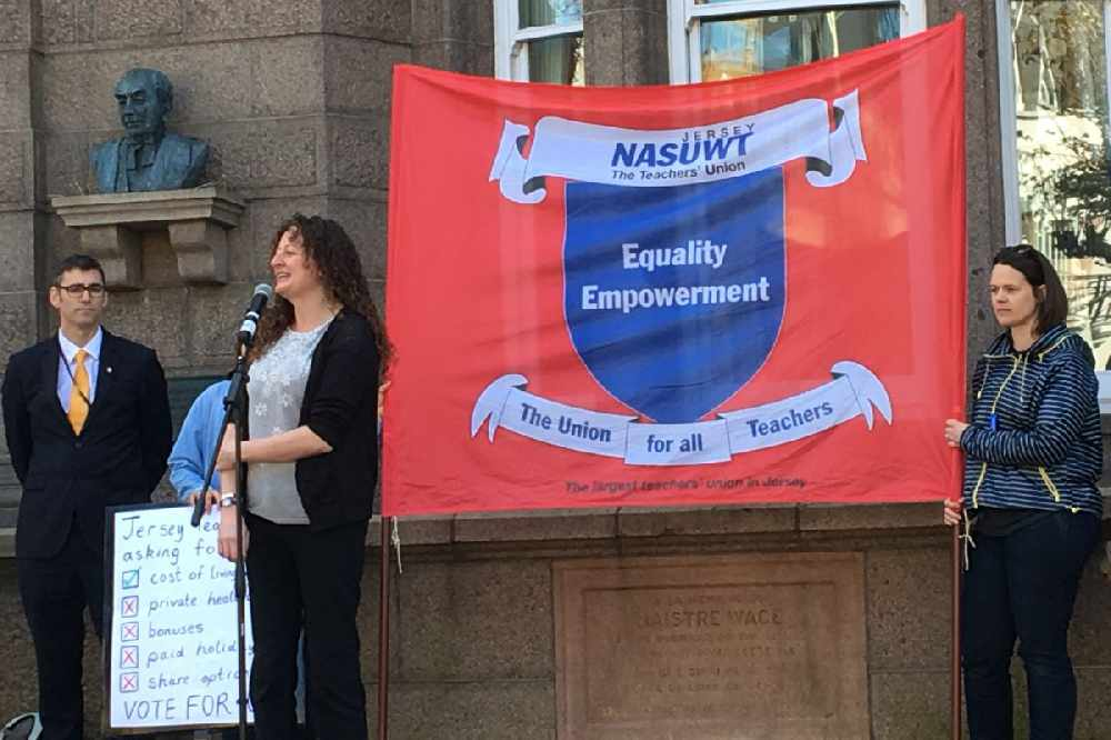 Teacher Pip Dobson addressing the mass of NASUWT members in the Royal Square.