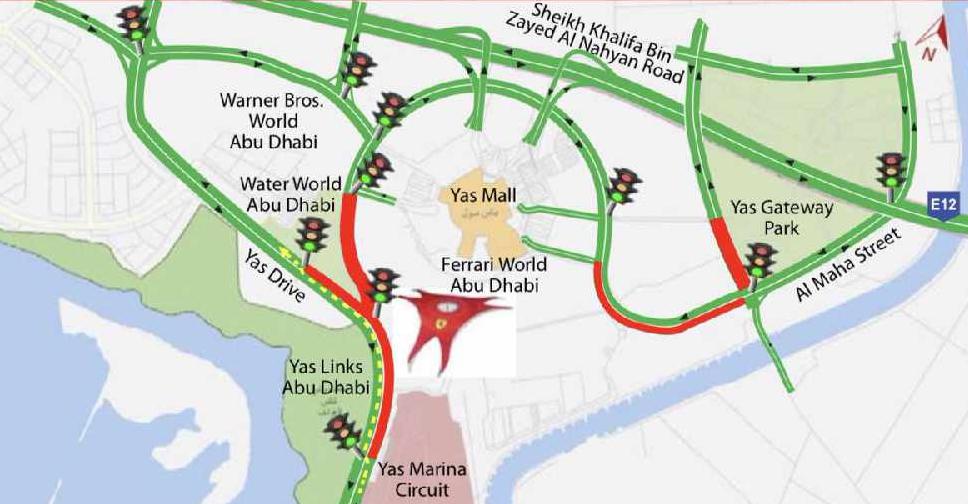 Caution: road closures in Abu Dhabi - City 1016