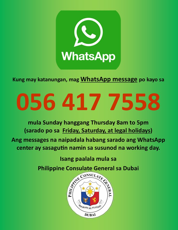 Now, expats can contact Philippine Consulate via WhatsApp