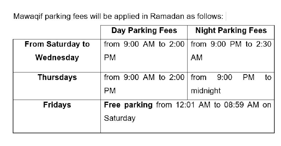 ad ramadan parking