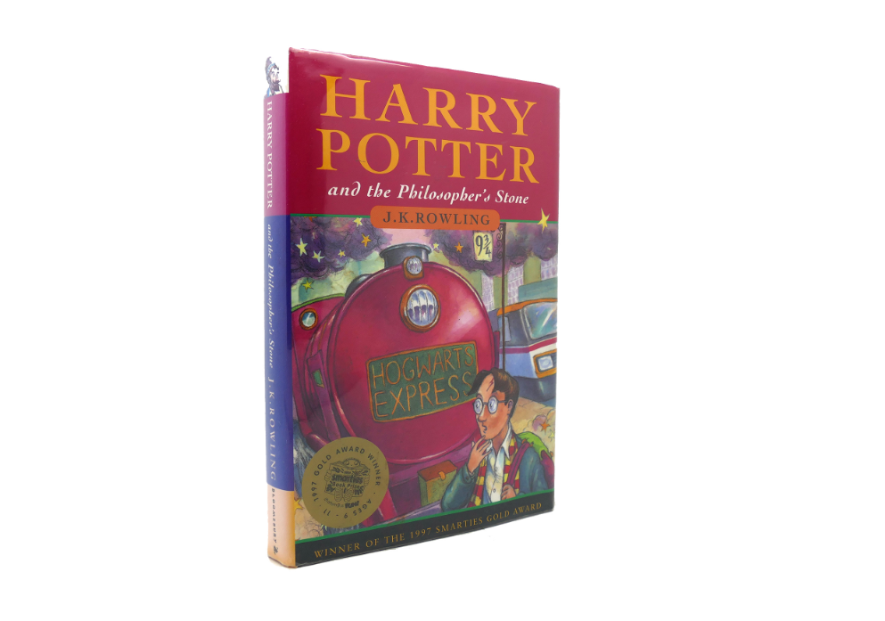 A hardback edition of Harry Potter and the Philosopher's Stone